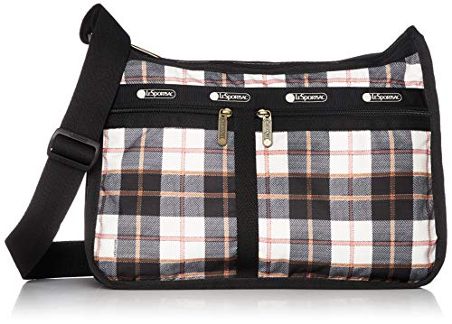 LeSportsac Chestnut Deluxe Everyday Crossbody Bag + Cosmetic Bag, Style 7507/Color F430, Modern Plaid