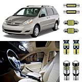 AUTOGINE 17 Piece White Interior LED Lights Kit for Toyota Sienna 2004 2005 2006 2007 2008 2009 2010 Super Bright 6000K Interior LED Light Bulbs Package + Install Tool