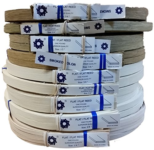 """1 Pound Coil of Flat Reed for Basket & Seat Weaving, Natural or Smoked Color, Any Width, 1/4"""" 3/8"""" 1/2"""" 5/8"""" 3/4"""" (1/2'' Wide, Natural)"""