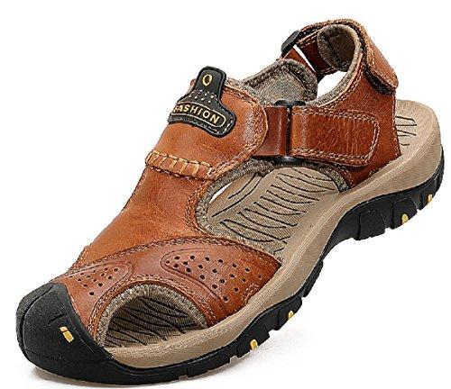 CH - Sandalias de piel para hombre y niño, deportivas y para exteriores, cerradas, cómodas, transpirables, color Marrón, talla 41 EU