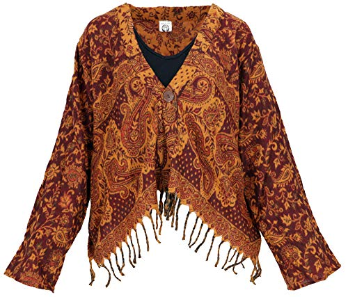 Guru-Shop Bolero Jacke, Legeres Boho Jäckchen, Damen, Rostorange, Synthetisch, Size:40, Boho Jacken, Westen Alternative Bekleidung