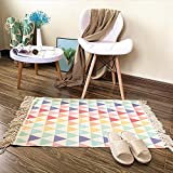 Ukeler Cotton Kilim Porch Rugs Colorful Triangle Entryway Thin Rug Hand Woven Washable Layered Doormats 2'×3'