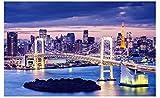 Japón Tokio Ciudad Vista Nocturna 5D Diy Bordado Mosaico Taladro Completo Bordado De Cristal Círculo Completo Diamante Pintura Diamante Punto De Cruz Decoración Set Decoración De La Habitación Del Ho