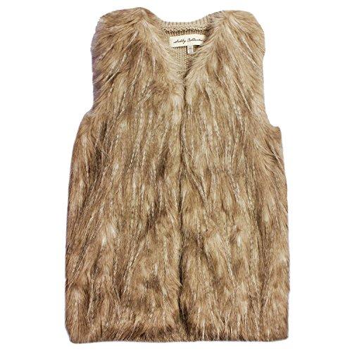 Sebby Collection Women's Faux Fur Fashion Vest (X-Large, Natural)