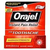 Orajel Instant Pain Relief for Toothache Gel, Maximum Strength 0.125 oz