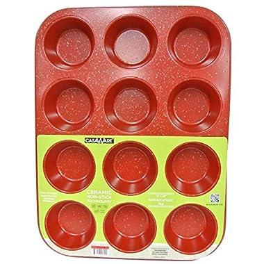 casaWare Ceramic Coated NonStick 12 Cup Muffin Pan (Red Granite)