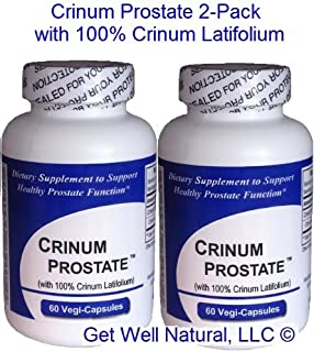 Crinum Prostate 2-Pack (60 Caps per Bottle) 100% Concentrated Vietnamese Crinum Latifolium, CONTAINS NO Synthetic fillers such as Silicon Dioxide, Talc, Magnesium Sterate, etc.