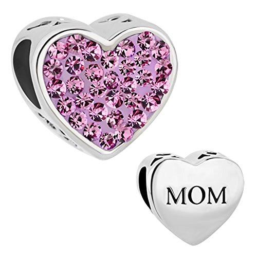 CharmSStory Mom Mother Charm Heart I Love You Purple Crystal Beads For Bracelets