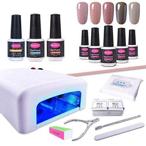 CLAVUZ Gel Nail Polish Kit with UV Light 15PCS Soak Off Nail Polish Starter Kit Base and Top Coat Nail Art Manicure Pedicure Tools Set