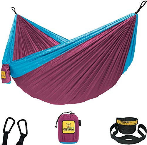 Wise Owl Outfitters Hammock for Camping Single & Double Hammocks Gear for The Outdoors Backpacking Survival or Travel - Portable Lightweight Parachute Nylon SO Fuchsia Sky Blue