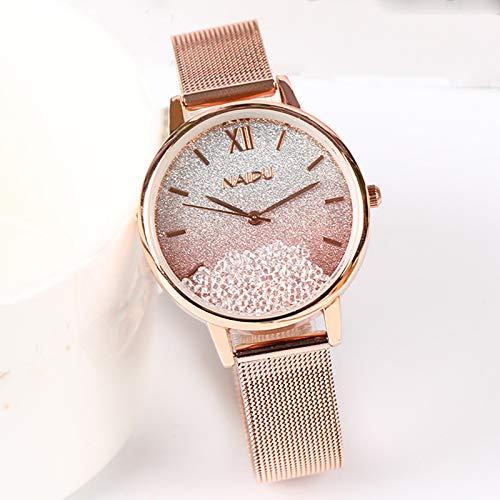 Lvmiao Relojes Rhinestone Rhinestone Color Reloj Femenino, Reloj de Temperamento Simple, Reloj Femenino de Niche de Lujo Luz, Reloj de Estilo Universitario,1