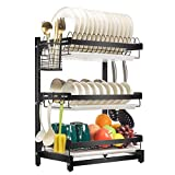 X-cosrack Dish Drying Rack Stainless Steel Dish Drainer with Drainboard Utensil Holder for Plates Bowls Cups for Kitchen Countertop, Detachable, 3 Tier, Black Patent Pending...