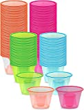 Zappy 100 Assorted Neon Colors Disposable Plastic Party Bomber Power Bomber Jager Bomb Cups Shot Glass Glasses Shot Cup Cups Jager bomb glasses Bomb shot glasses Bomber cups Bomber glasses