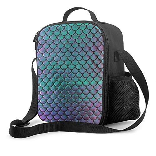 Fiambrera premium con diseño de sirena, báscula metálica, turquesa y morada, para hombres y mujeres, adultos, oficina, trabajo, picnic, senderismo, playa, lonchera, impresión 3D