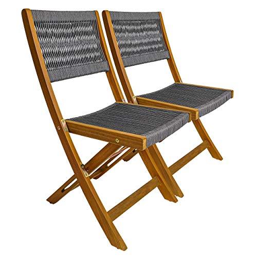Gartinex 2 x Klappstuhl Stuhl klappbar Lehne bespannt Stoff Textil grau Holz Akazie FSC