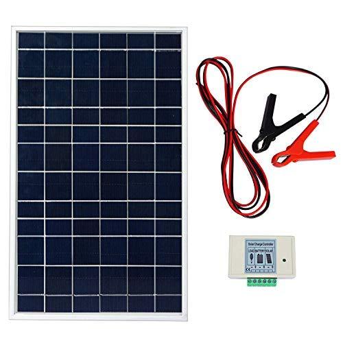 ECO-WORTHY 12V 10W Sonnenkollektorsystem: Polykristallines solar Panel mit 3 Draht- und 30A-Batterieklemmen Tragbares Solarzellen-Ladegerät für Outdoor Camping Wandern Angeln Klettern