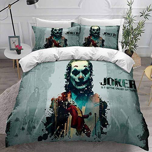 Joker Bedding Set, 3D Horror Movie Joker Printed Duvet Cover Set with Pillowcase Halloween Single/Double/King Size Unisex Teen Girls Boys Soft Bedding Sets for Winter Autumn Summer (135x210cm-2pcs,14)