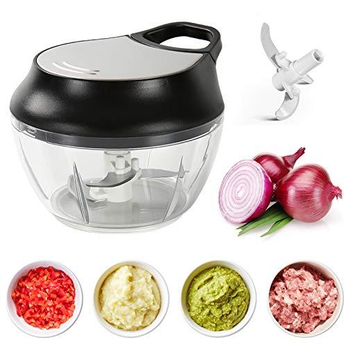 Zwiebelhacker Manuell, Zwiebelschneider Gemüseschneider mit 3 Klingen Küchenhandbuch Multi Zwiebel / Food Chopper Mischen für Salat Fleisch Knoblauch Nüsse Obst Kräuter (500 ml)