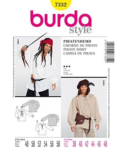 Burda Schnittmuster 7332 Piratenhemd,Camisa de Pirata Gr. 48-58