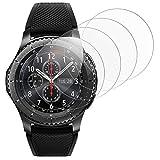 RSSYTZ [4 Unidades Protector de Pantalla para Samsung Watch 46mm/Gear S3 [9H Dureza] [Impermeable] [antiburbujas] Cristal Vidrio Templado para Samsung Watch 46mm/Gear S3