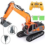 VATOS RC Excavator 17 Channel Construction Vehicle 1:16 Scale 3-in-1 Remote Control Truck 2 Rechargeable Battery Fully Functional with Lights & Sounds 680 ° Rotation Toy Crawler Best Gift Outdoor