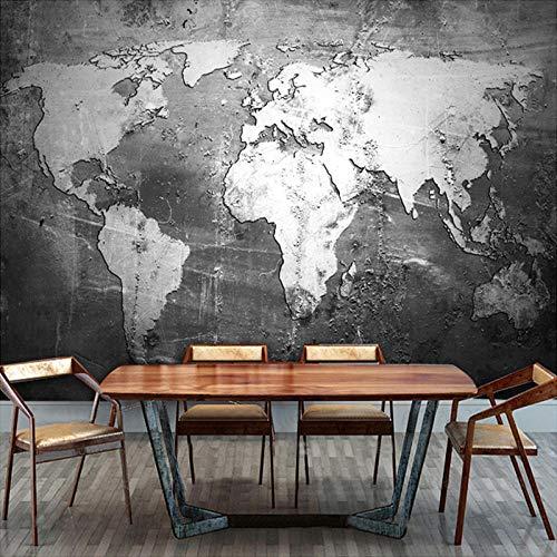 Fotobehang wandschilderij 3D wallpaper Vintage wereldkaart wanddecoratie restaurant werkkamer 3D foto wandschilderij behang 300cm (W) x 210cm (H)