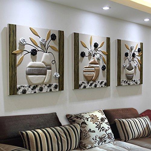 Pingofm El sofá de tu salón pinturas decoran el moderno y minimalista restaurante animación tres dormitorios frescos pintura grabado en estéreo imagen colgantes Triple pintura decorativa,50*50,25mm