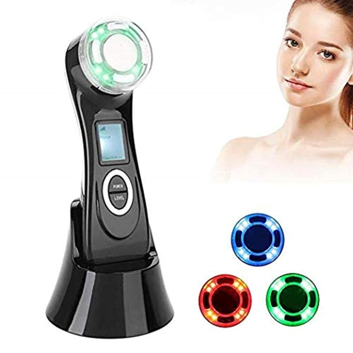 夢中偉業ちょっと待ってMJWM 美しくなる 1つのしわの減少装置高周波RF LED EMSの美のマッサージャーの顔のマッサージャー5つ/持ち上がること/反老化/皮のきつく締まること/表面清潔になること/反アクネ 肌を改善する