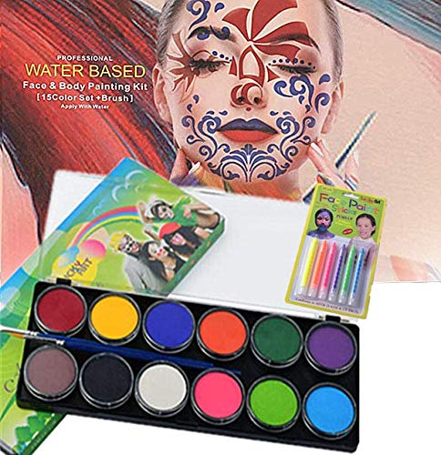 Professional Water Based Face&Body Painting Kit 12 Colors with Fluorescent Paintbrush for Kids Art Show Halloween Party Colsplay Makeup