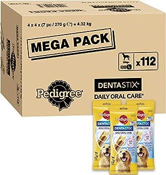 Pedigree Dentastix - Friandises pour grand chien, 112 bâtonnets à mâcher pour l'hygiène bucco-dentaire (16 sachets de 7 Sticks) - Amazon Pack