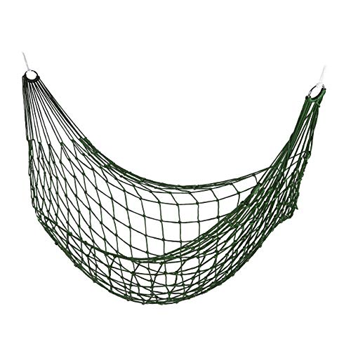 Relaxdays Net Hammock, Garden Hammock for 1 Person, Camping; Light-Weight, for in- & Outdoor Use, for Storage, Green
