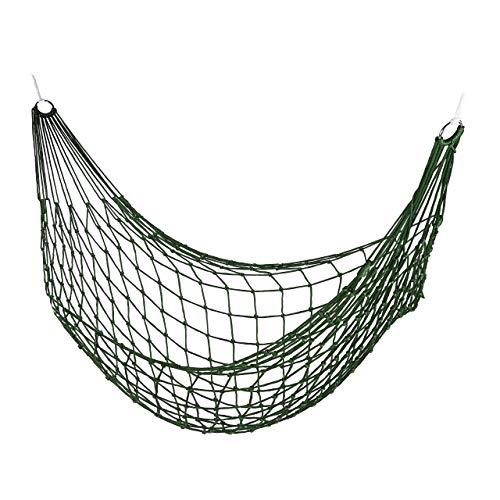 Relaxdays, dunkelgrün Netzhängemmatte, Garten Hängematte für 1 Person, Camping, leicht, in-& Outdoor, zur Aufbewarung