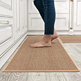 Washable Kitchen Rug Mats,100% Non Slip Polypropylene Mat with Odorless Rubber Backing, Super Absorbent Carpets for Floor Home,Sink, Laundry 17'x30'+17'x47' 2 PCS Set(Oats)