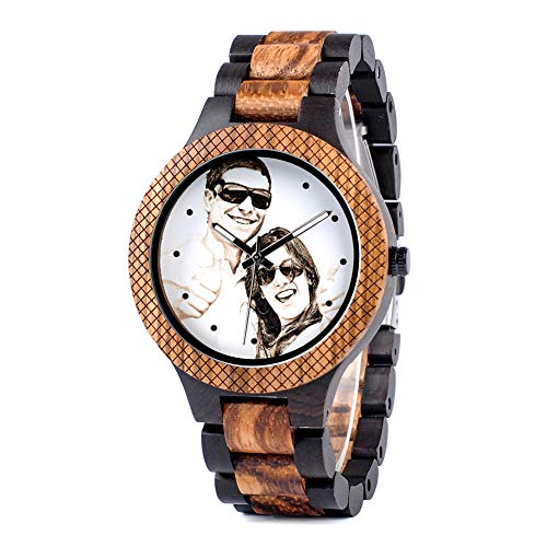 BOBO BIRD Mens Personalized Engraved Wooden Watches Quartz Casual Wristwatches for Men Family...