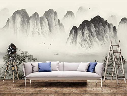 Wallpaper 3D Wall Mural Chinese Style Ink Mountain Peak Scenery Home Bedroom Living Room Wall Decoration 3D Background 150x105cm