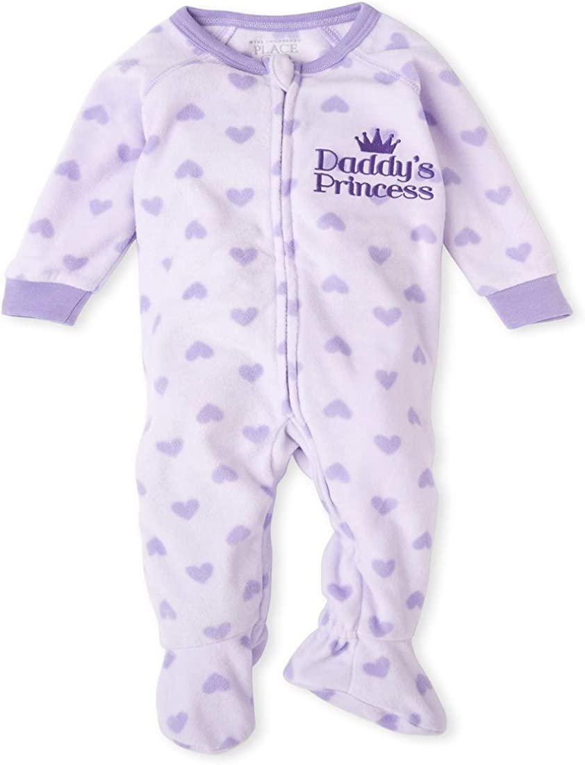 The Children's Place Girls' Baby and Toddler Heart Fleece One Piece Pajamas