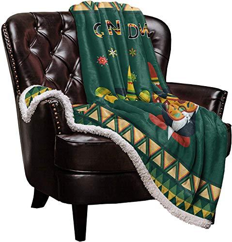 Warm Soft Fleece Throw Blanket, Green Mexico Cinco de Mayo Party Gnomes - Cozy Plush Lightweight Blanket | Winter Couch Bed Sofa Decorative Microfiber Fleece Throws, 59' x 79'
