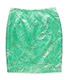 Sunny Leigh Womens Foil Pattern Pencil Skirt, Green, 14