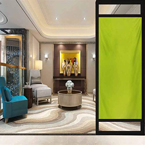 23.6' W x 47.2' L inches,Glass Film,Window Cling Stickers for Home Decoration,Lime Green,Empty Backdrop Blurry Off Focus Pastel Toned Shade Color Spring Theme Abstract,Green