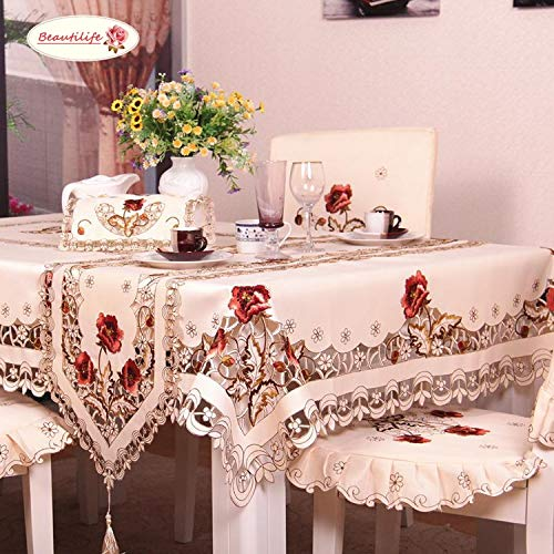 Arzoe Flower Embroidered Lace Cream Tablecloth Luxury Cutwork Table Cloths Cover Rectangular