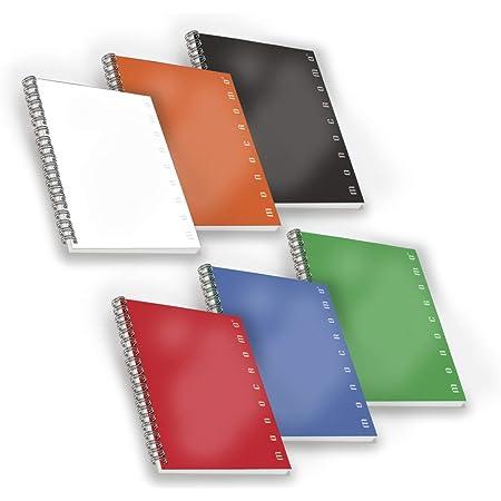 Pigna 02155585M, Conf. 5 pz. Quaderno Maxi Spiralato A4 senza Fori / Microperforazione , Rigatura 5M , quadretti 5 mm , Carta 80g/mq.