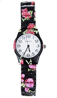 Women Multi Color Flower Stretch Band Easy to Read Watch