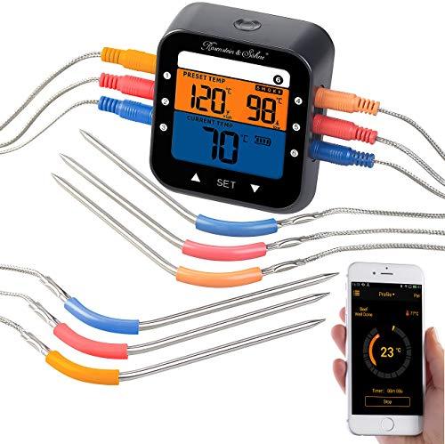Rosenstein & Söhne Fleischthermometer: Profi-Grillthermometer mit Bluetooth und App, Farb-Display, 6 Fühler (Funk Temperaturmessung)