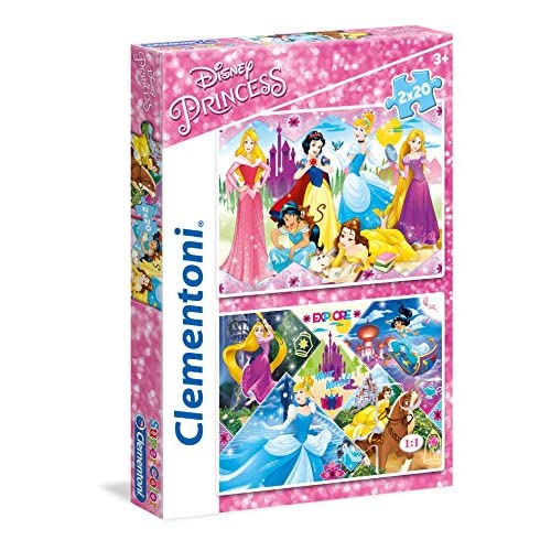Clementoni-Le Principesse Disney & Sofia Disney Princess Supercolor Puzzle, 2 x 20 pezzi, 24751