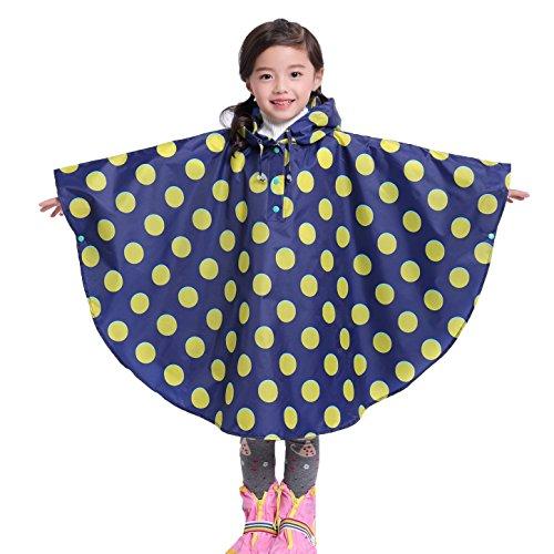 Gagacity Regenponcho Baby Kapuzenmantel Niedliches Drucken Wasserdicht Regenjacke für Jungen und Mädchen Blau Punkte/S