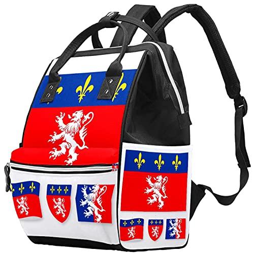Sac à langer multifonction pour maman et papa, motif drapeau de Lyon