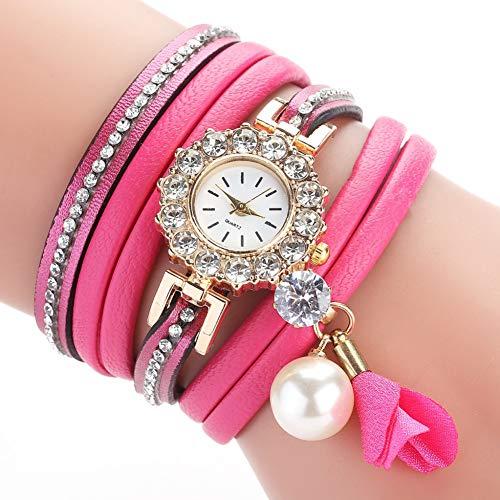 DMUEZW Punto Taladro Círculo PU Correa Reloj Perla Doblar Moda Señoras Pulsera Reloj