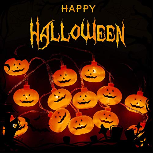 Halloween lichterkette,Orange Kürbisse 20 LED 3m / 9,8ft Batteriebetriebene Fee LED Kürbis Lichter-Warmweiß, verwendet für Halloween Dekoration/Home Patio Dekorationen