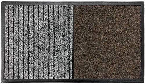 TIENDA EURASIA Felpudo - Alfombra Desinfectante Calzado para la Entrada - 3 en 1 - Base de Caucho con 2 Divisiones (Desinfección - Secado) - 60x80 CM - Fabricado en España (40X70 cm - Marron)