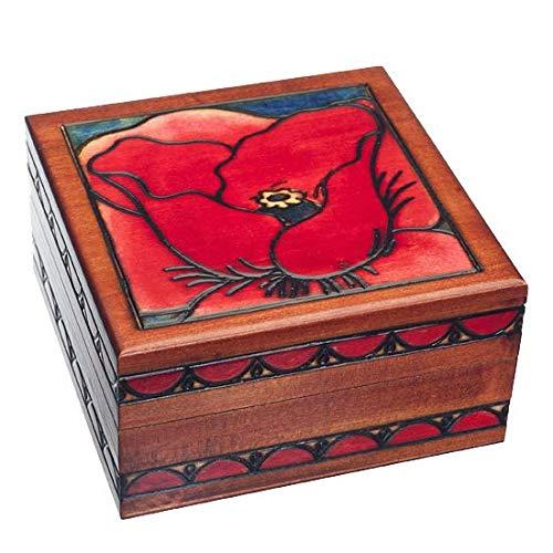Georgia O'Keefe Red Poppy Flower Linden Wood Jewelry Keepsake Box